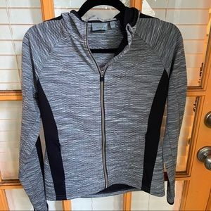 Athleta Space Dyed Gray Quilted Full Zip Up